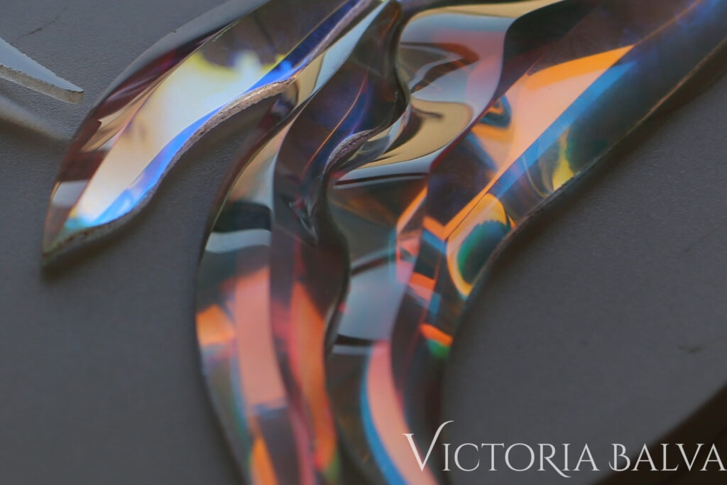 Laminated: dichroic hand beveled art glass, kiln-formed glass samples 21