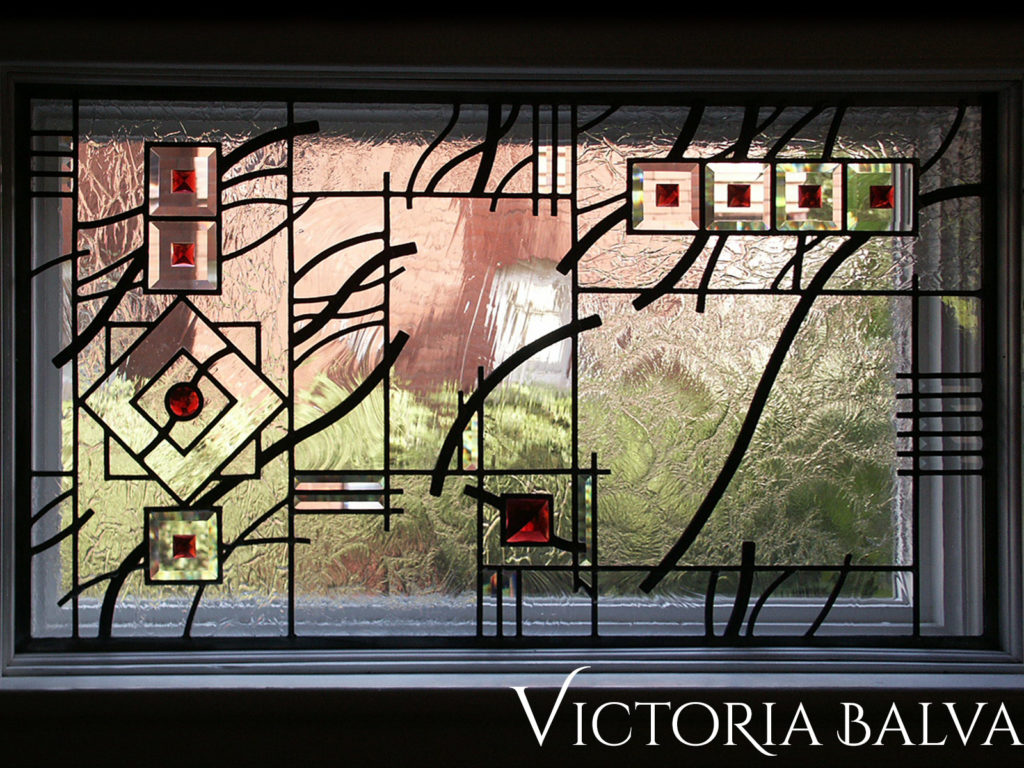 Contemporary art line design entry hall window for historical house in Richmond Hill