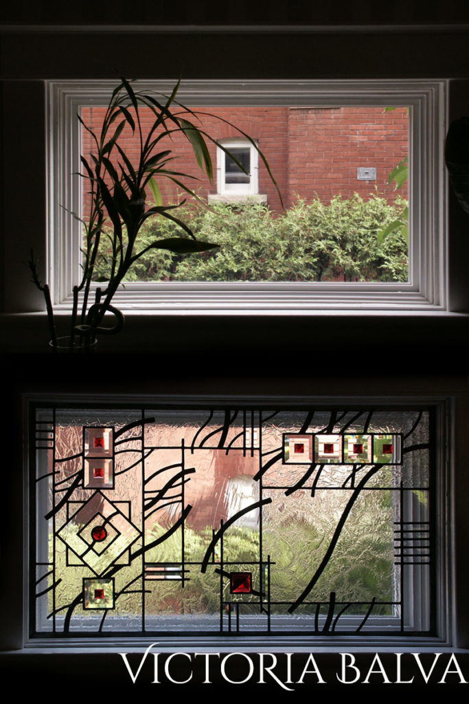 Before and after stained glass window installation