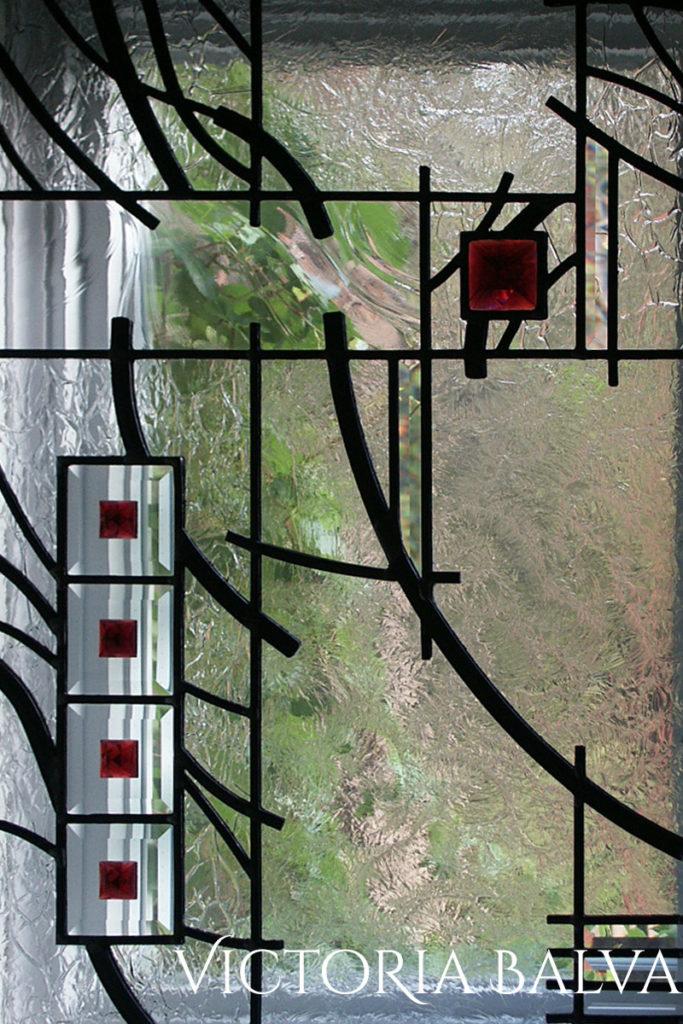 Modern minimal art line design for the landing window in Richmond Hill