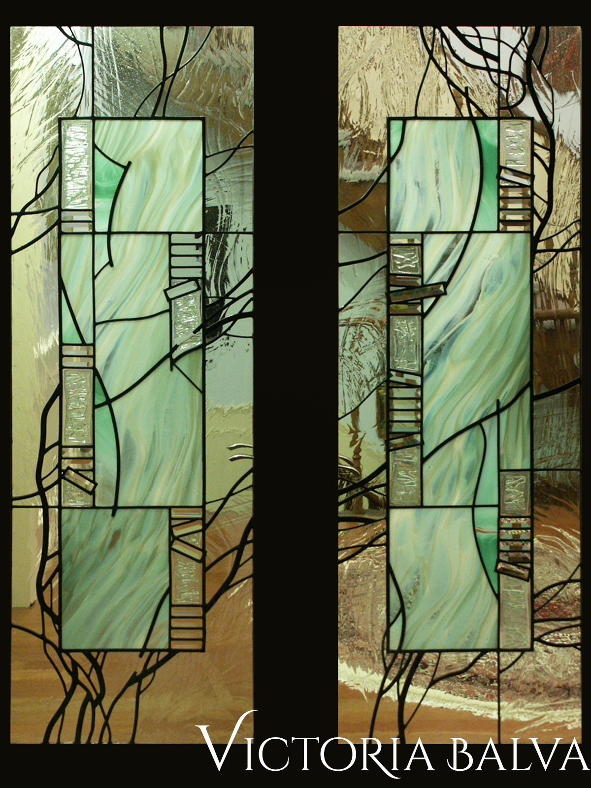 Stained and leaded glass interior door lights in minimalism style