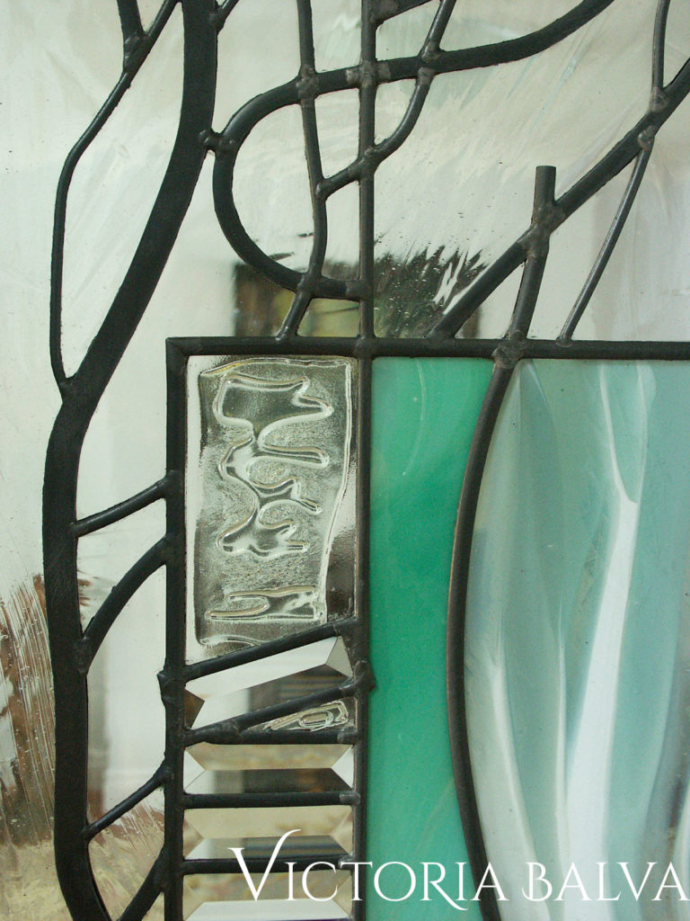 Emerald mouth blown glass with fused glass