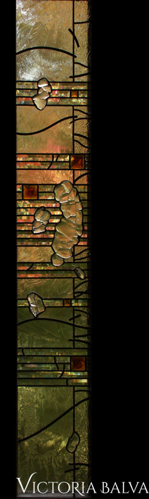 Modern stained and leaded glass window in minimal abstract style