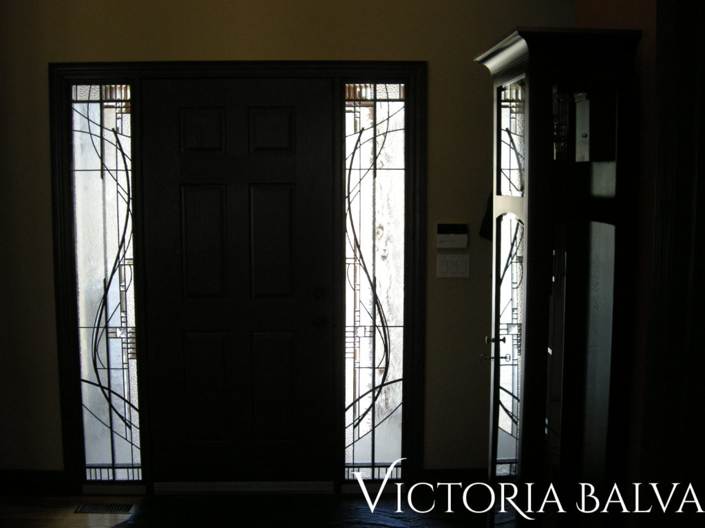 Contemporary abstract stained and leaded glass front door sidelights