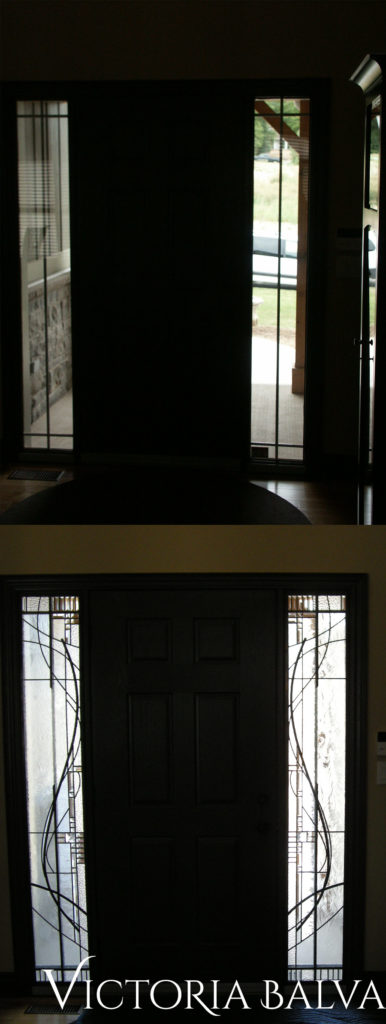 Front door with full-size sidelights before and after stained glass installation