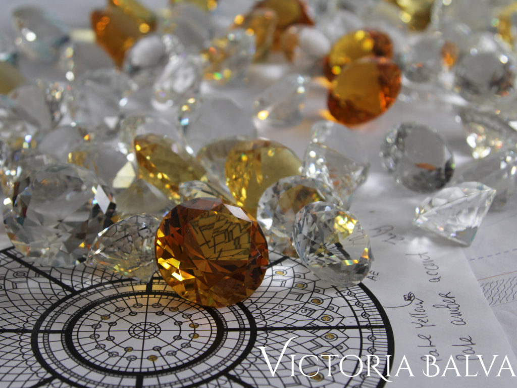 Amber and clear crystal jewels on the sketch of stained glass dome design proposal
