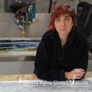Architectural glass artist Victoria Balva in her glass studio in Toronto