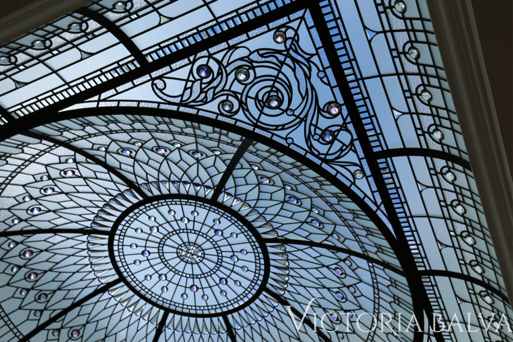 Stained and leaded glass roof light dome with clear textured glass luxury residence meditation room