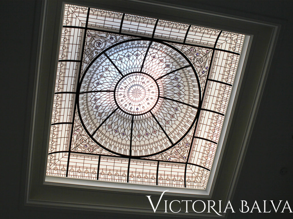 Atrium stained and leaded glass dome skylight ceiling for a double-height foyer of a luxury custom built house in Toronto