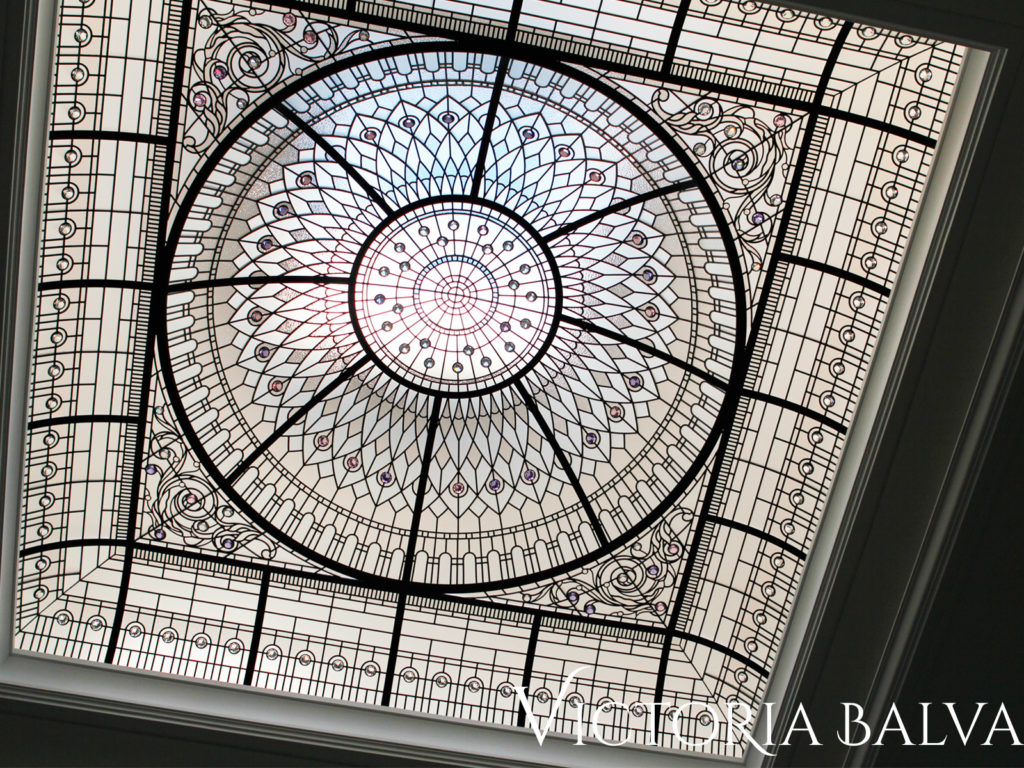 Elegant leaded glass dome lens for a luxury custom built residence