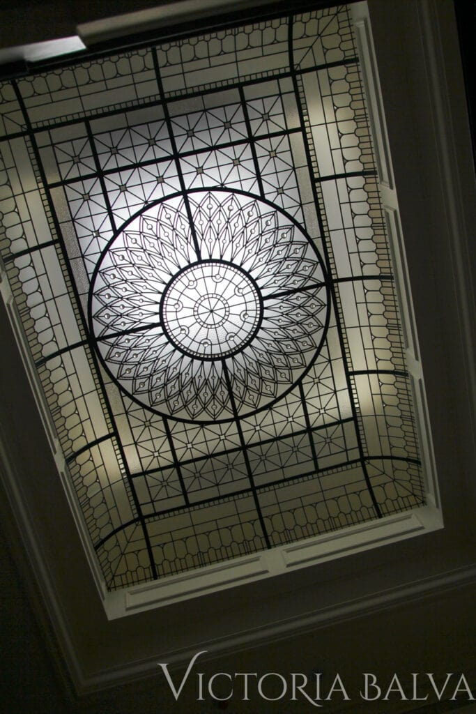 Decorative leaded glass roof light for a custom built house in Toronto