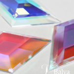 Fantastic laminated dichroic bevelled glass samples with cold worked edges