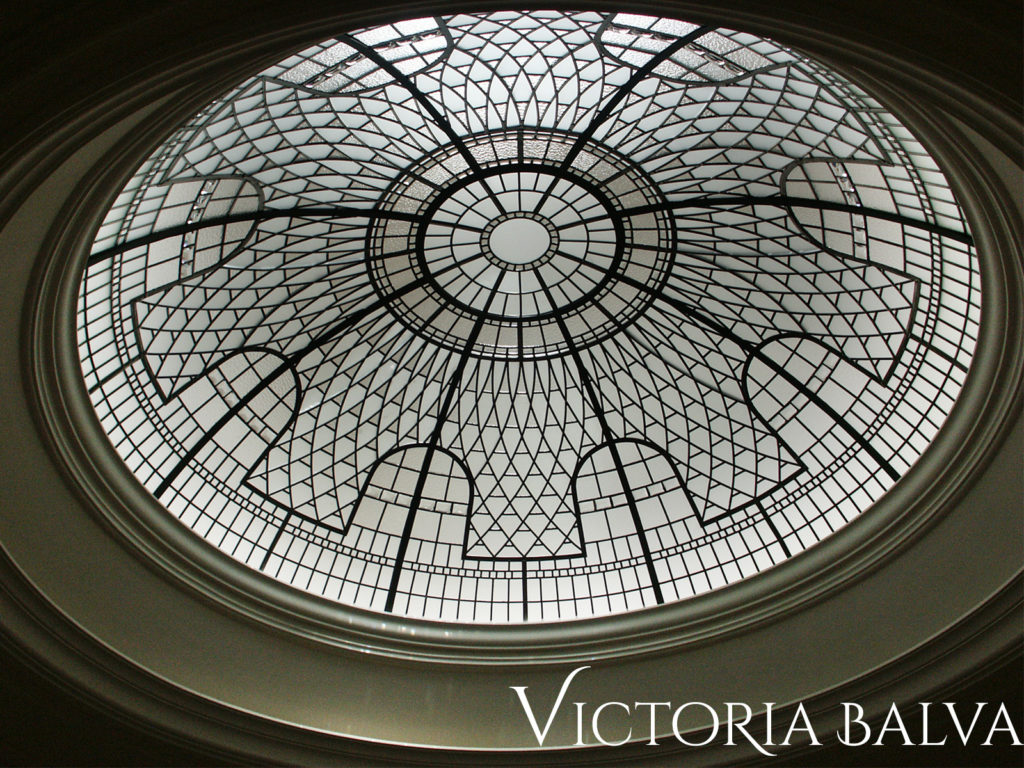 Large leaded glass dome skylight for a stairwell hallway of a custom built residence in Toronto