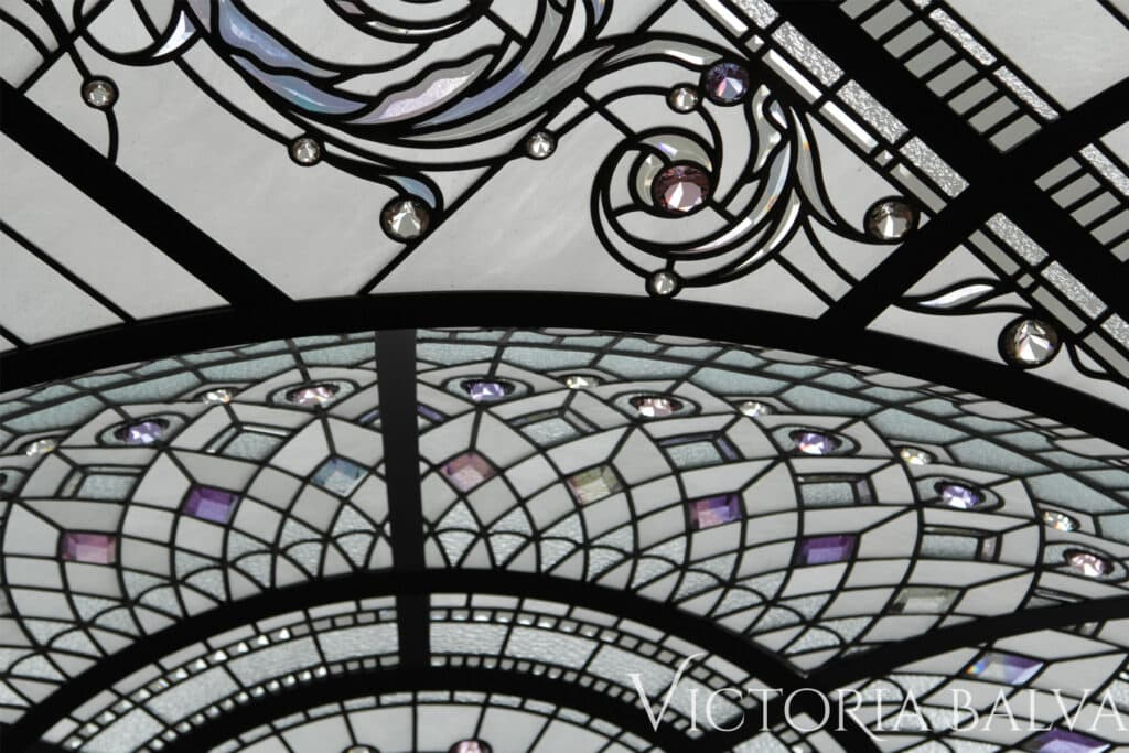 Residential stained and leaded glass dome ceiling design artwork for a double height entrance foyer