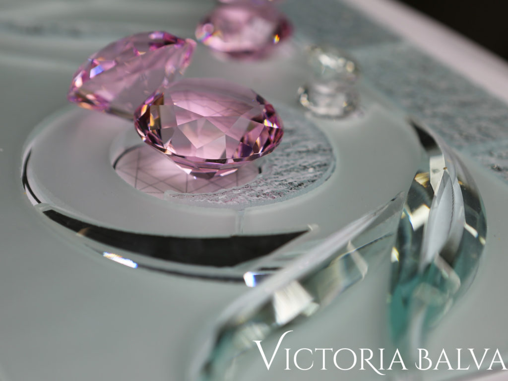 custom hand bevelled glass with pink crystal jewel accents