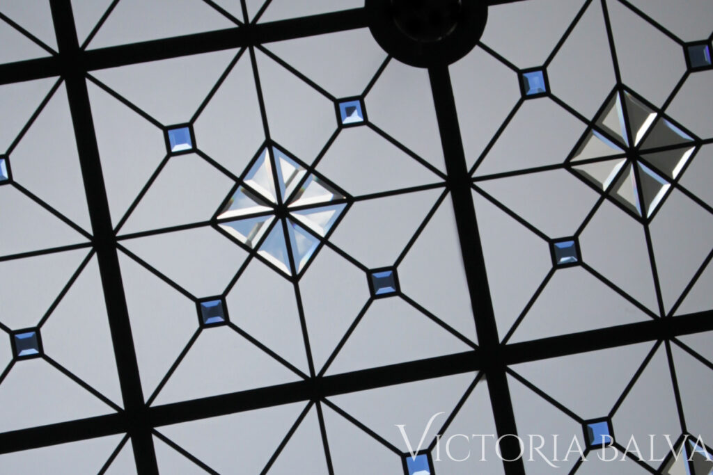 Large stained and leaded glass skylight ceiling The Scent of London 3