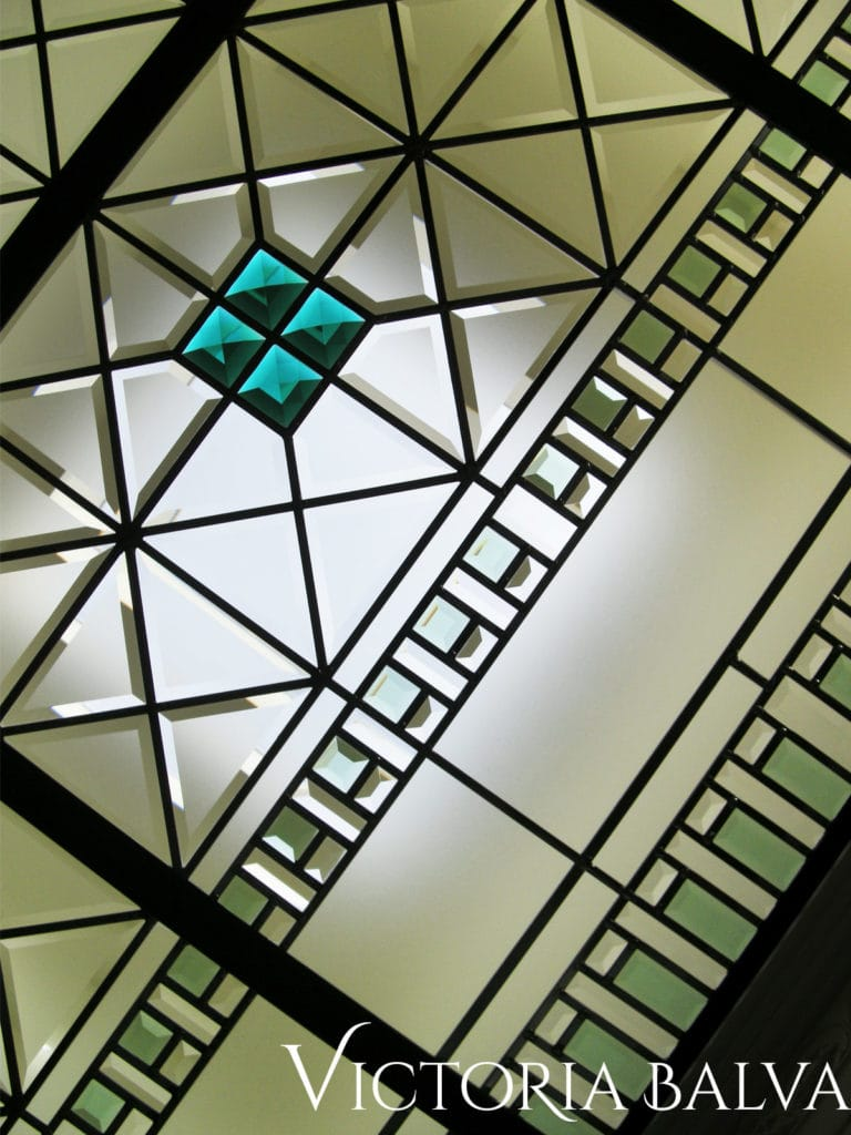cusomed geometric stained glass skylight with hand bevelled glass and emerals jewels for a custon bilt home in Richmond Hill
