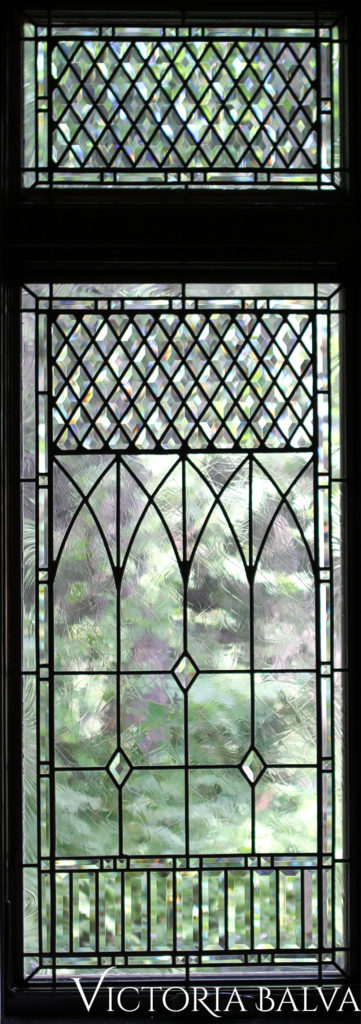 Leaded and beveled glass glass windows in traditional style