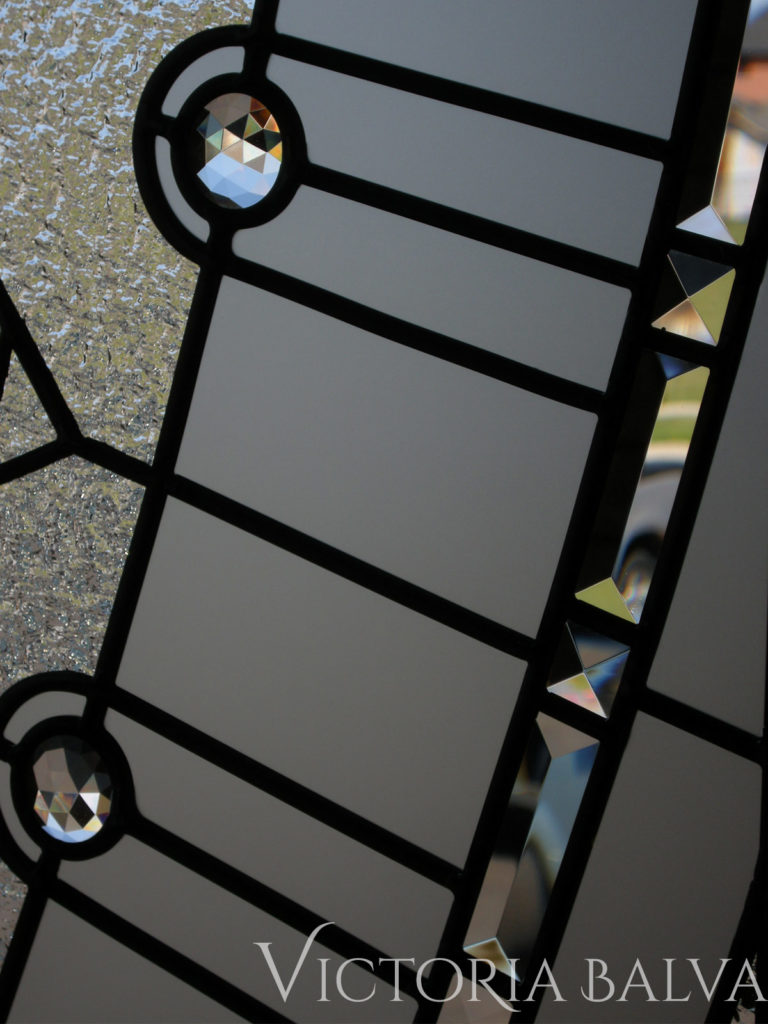 Staircase leaded glass window insert with textured clear glass and crystal jewels