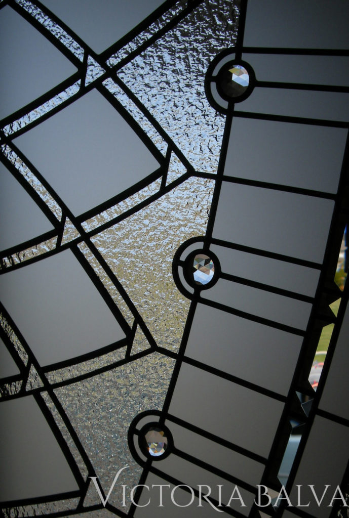 Decorative glass window for the staircase