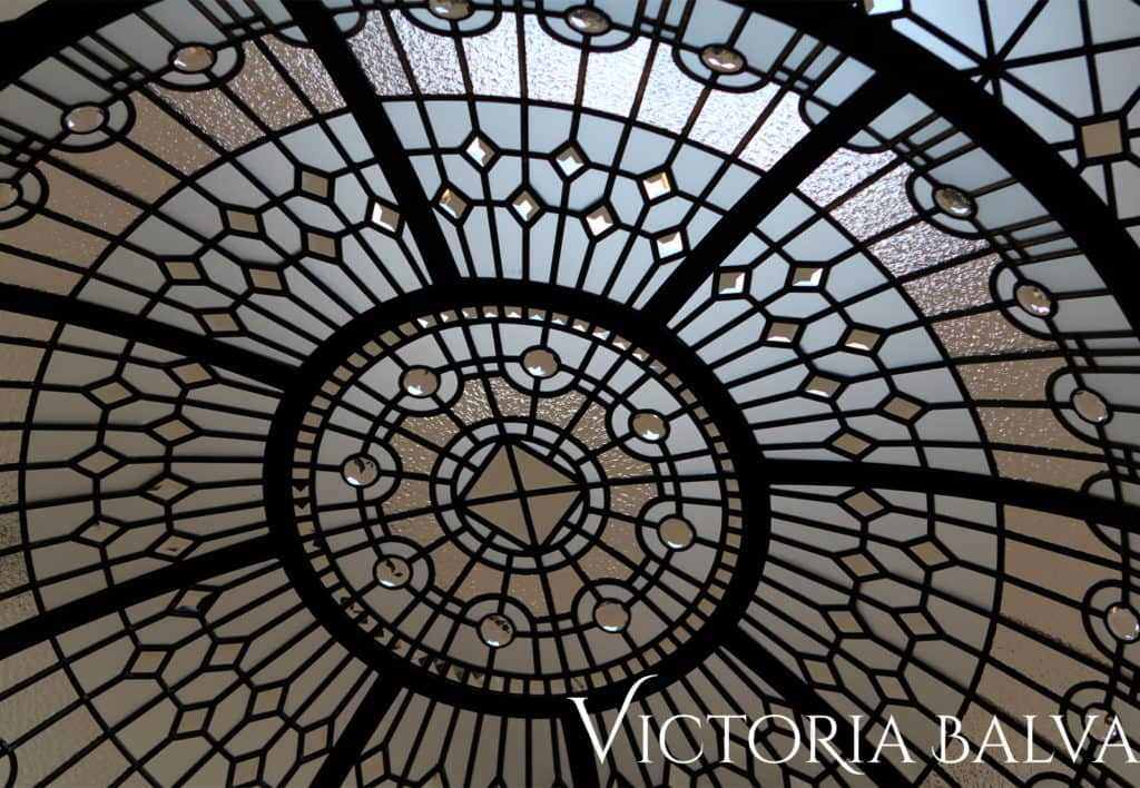 Leaded glass dome ceiling in simple geometric design
