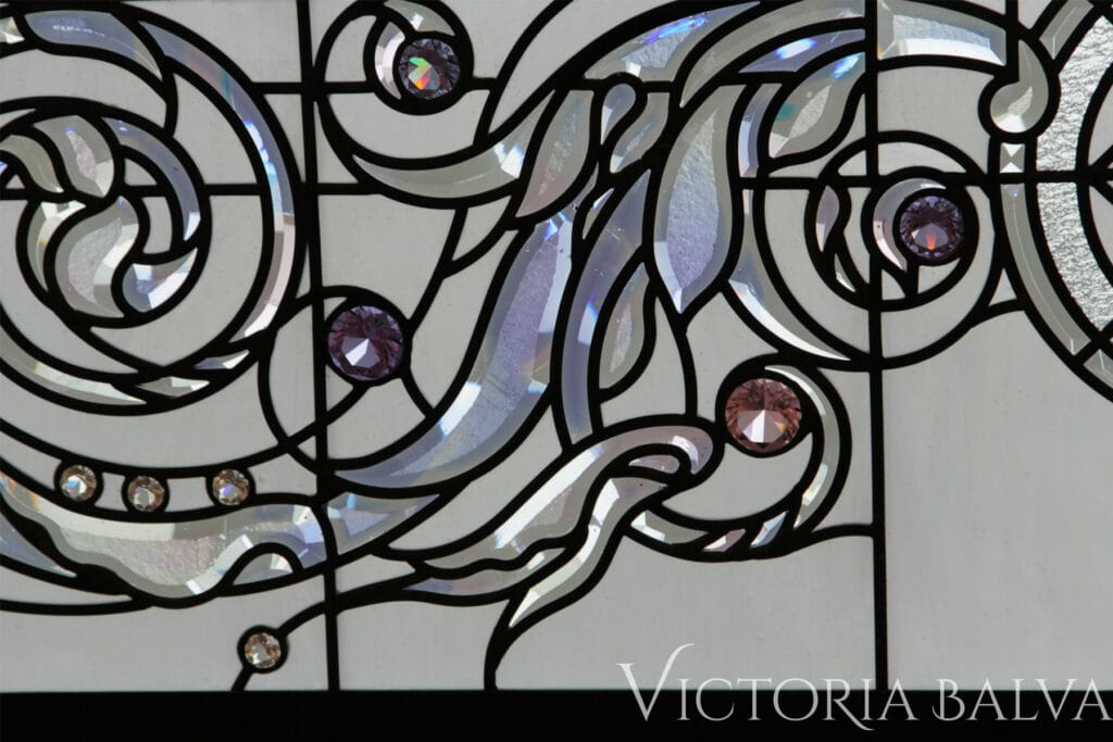 Stained and leaded glass decorative glass skylight with hand made custom bevelled glass cluster and stained glass jewels