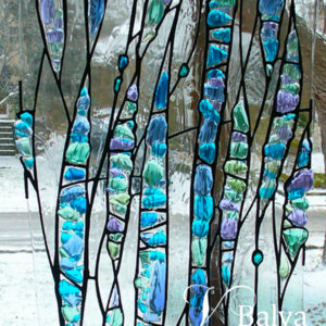 Contemporary stained leaded glass artwork with fused glass elements for an entrance modern custom built house
