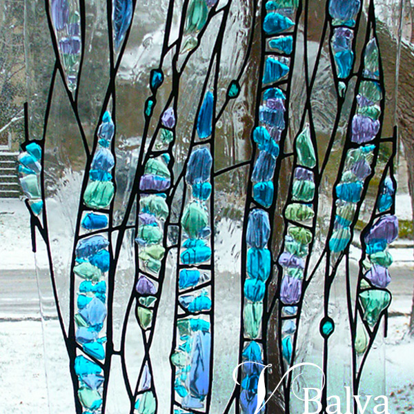 Waterfall - stained glass sculpture with kilnformed glass elements