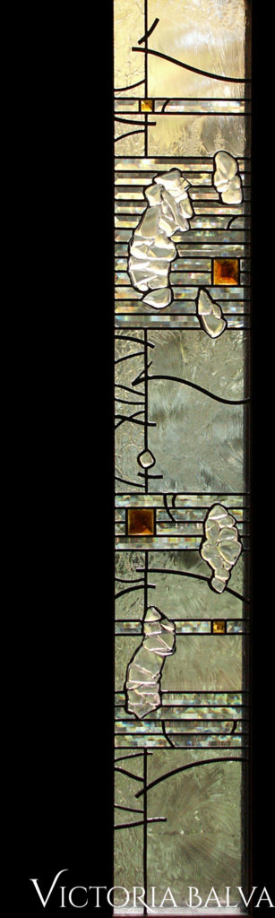 Contemporary stained and leaded glass window with clear textured, bevelled, fused glass