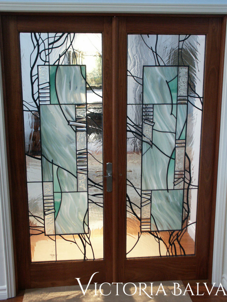 Modern stained and leaded glass interior door lights with fused and bevelled glass