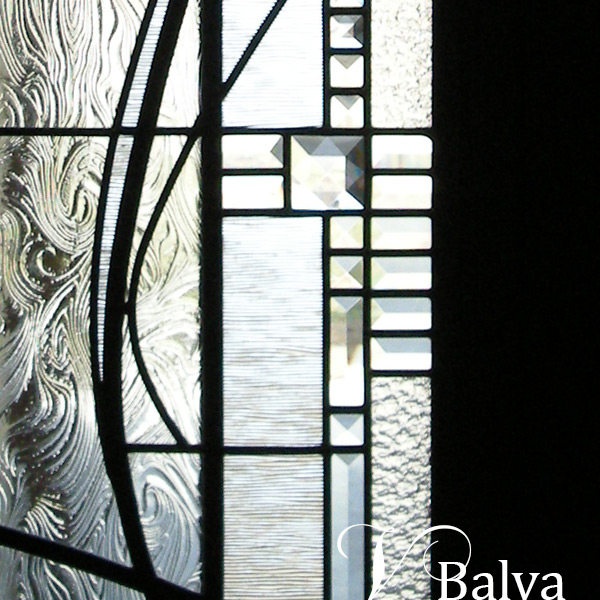 Contemporary art glass sidelight with clear bevelled glass and accent stained glass jewels