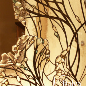 Contemporary abstract stained glass wall divider