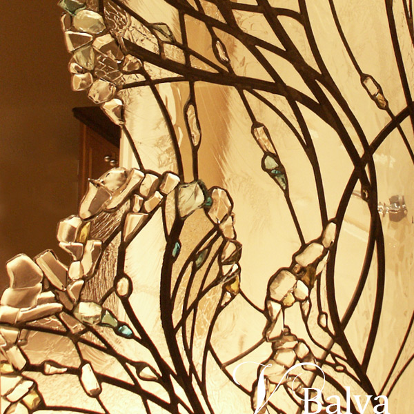 Leaded glass free shape wall divider with kiln formed elements
