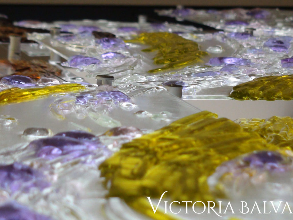 Clear lilac and yellow cast glass detail