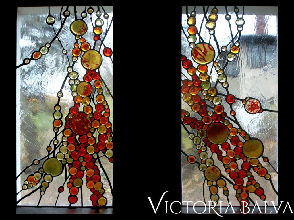 contemporary art glass windows in abstract style with fused glass nuggets and clear textured glass