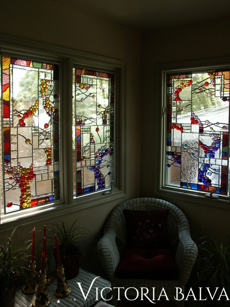 Contemporary stained glass hangings in abstract style with glass nuggets and clear textured and bevelled glass for a sunroom windows in Vancouver BC