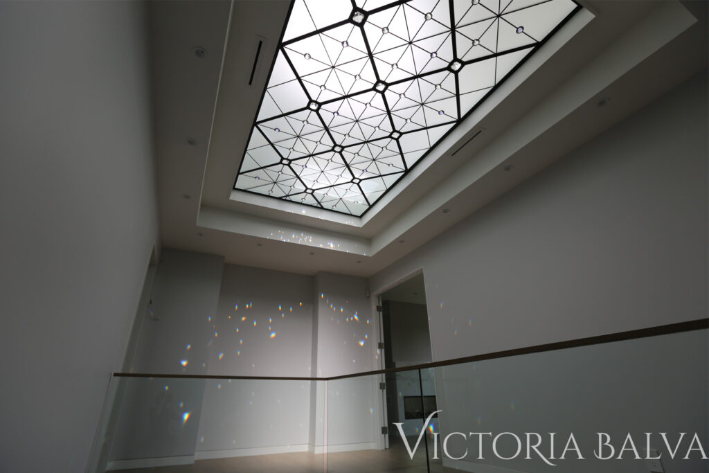 Modern style hallway with stained glass ceiling and crystal jewels for custom built house in Toronto