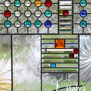 Contemporary front door stained glass with transom and sidelight modern geometric design
