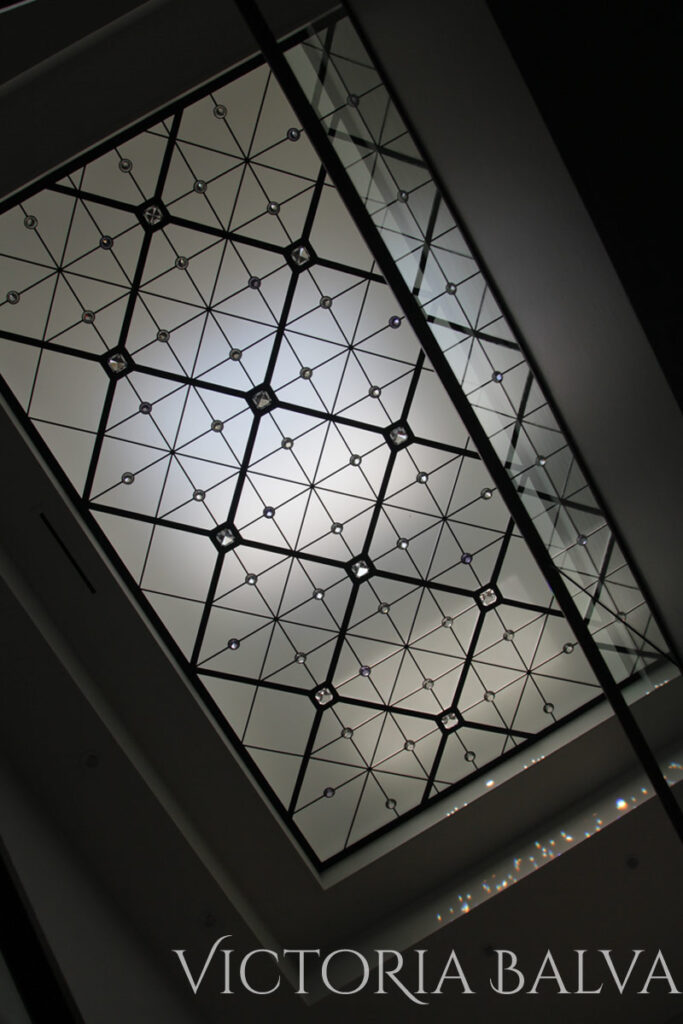 Decorative glass ceiling in contemporary style for modern custom built house in Toronto