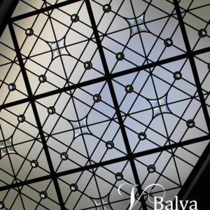 Contemporary leaded glass skylight ceiling in a minimal design with clear textured and custom hand bevelled glass