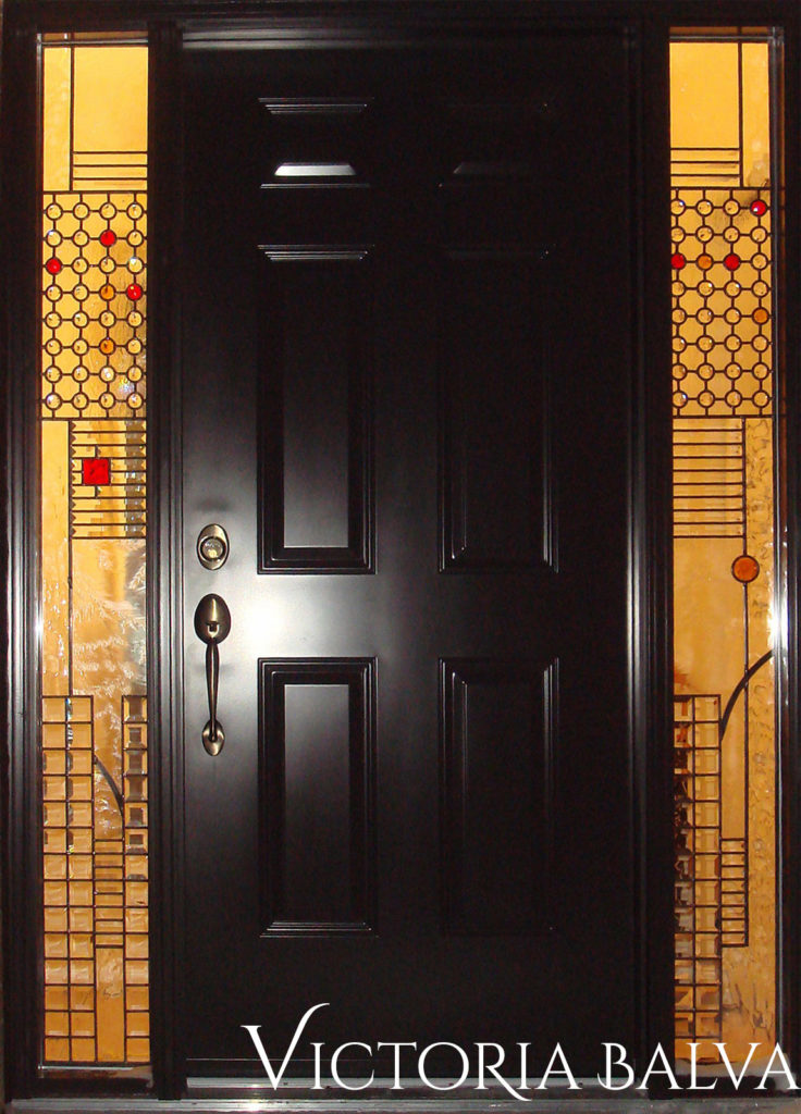 Contemporary front door with abstract modern stained and leaded glass full-size sidelights