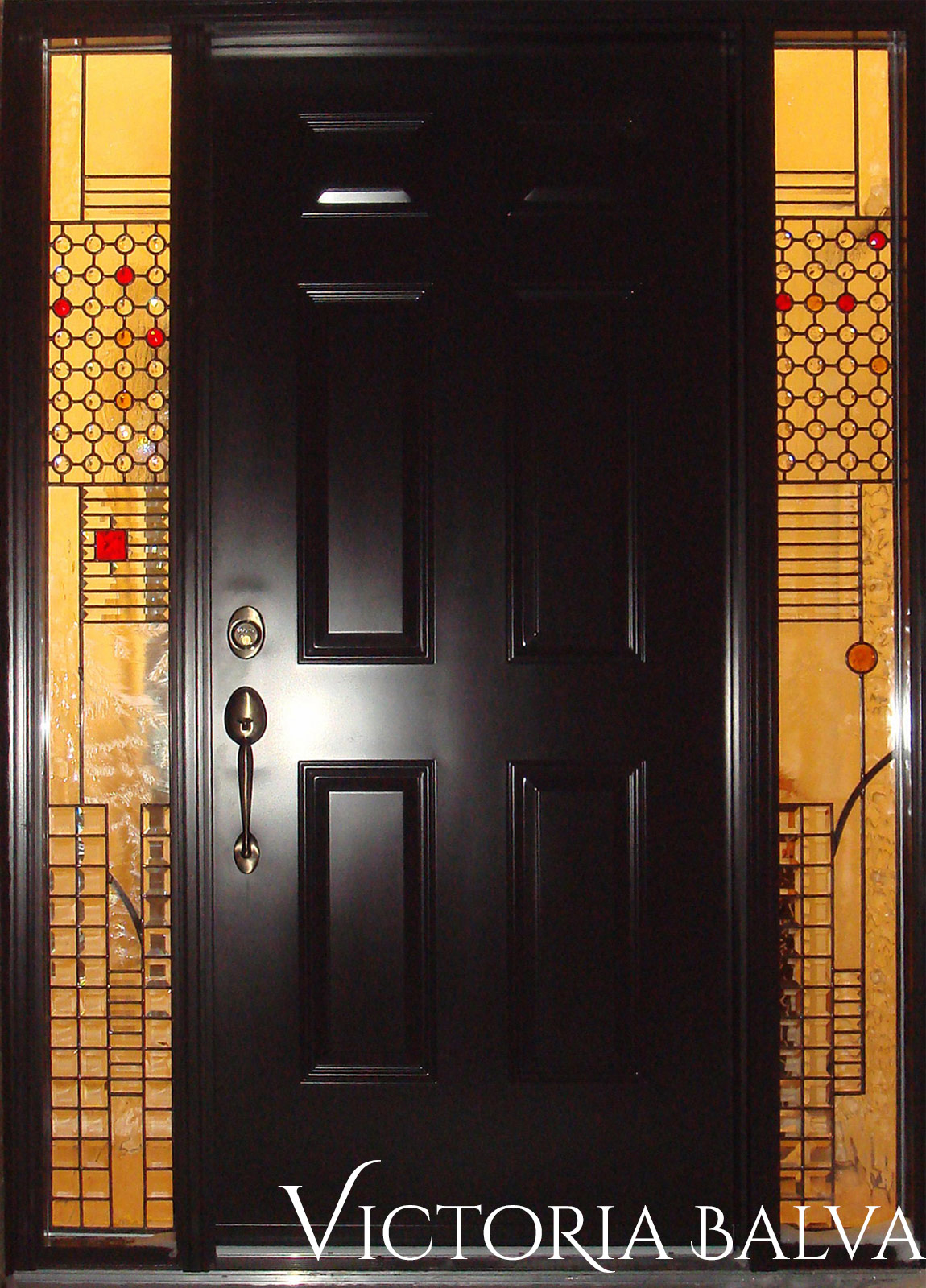 Stained and leaded glass front entance door sidelights with jewels and bevelled glass