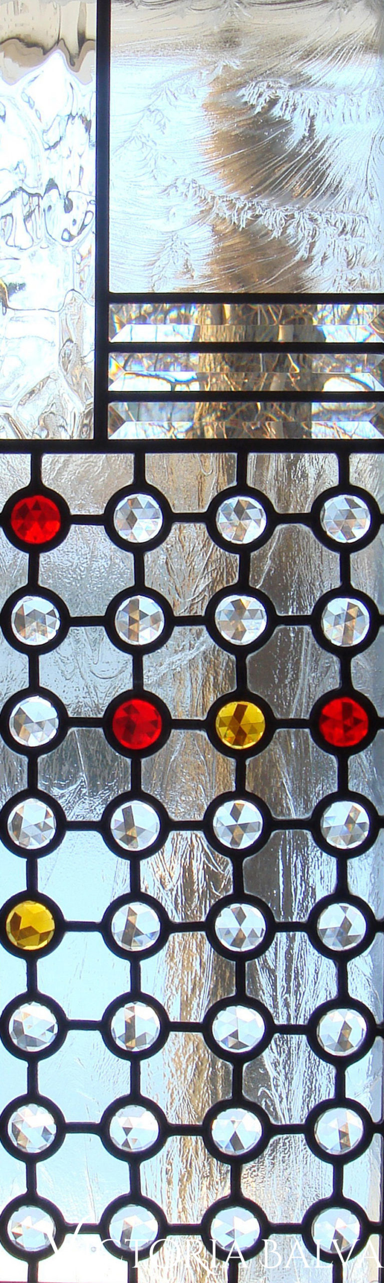 Contemporary style leaded glass front entance door sidelights with jewels and beveled glass