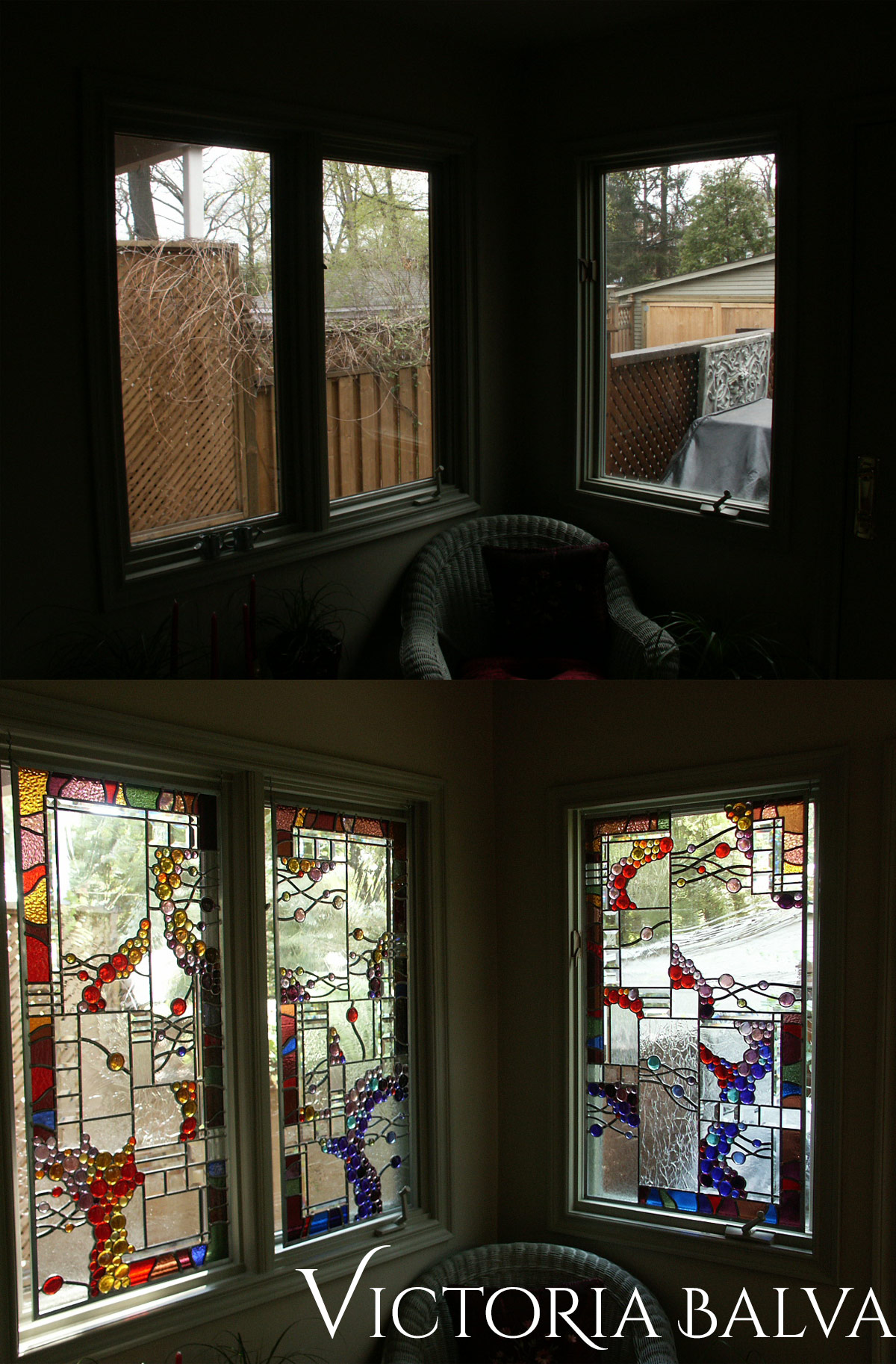 Stained leaded glass suspended panels with nuggets and bevelled glass for solarium room windows before installation