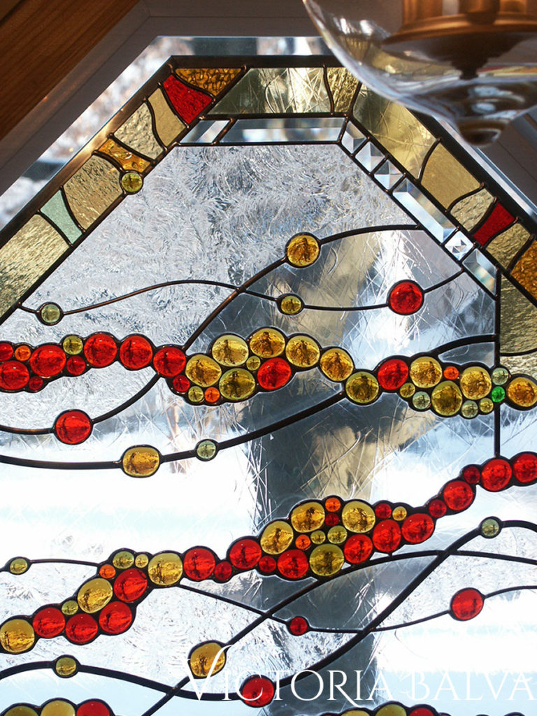 Modern stained glass octagon window