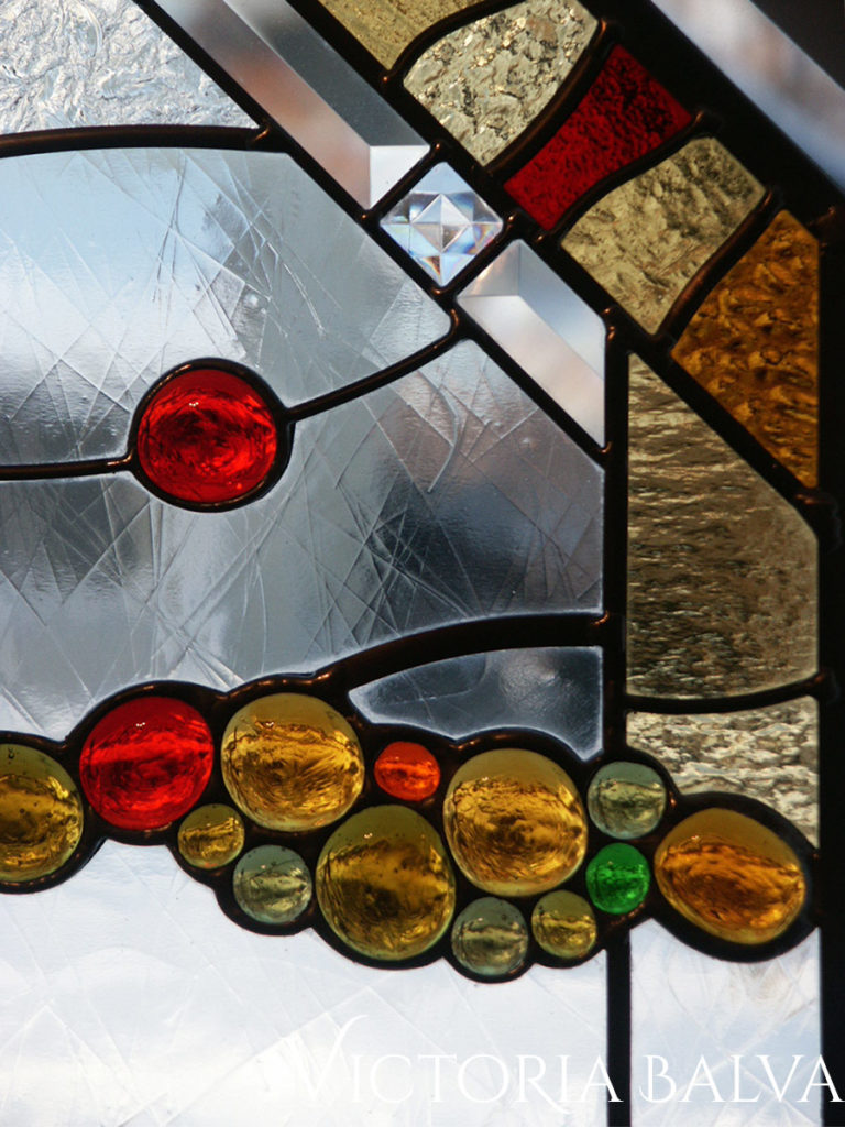 Contemporary modern stained glass window design with glass nuggets, clear textured Duncan glass and bevelled glass