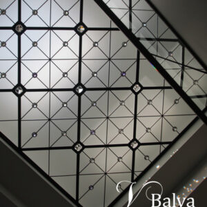 Contemporary stained and leaded glass skylight ceiling with clear acid etched glass and crystal jewels