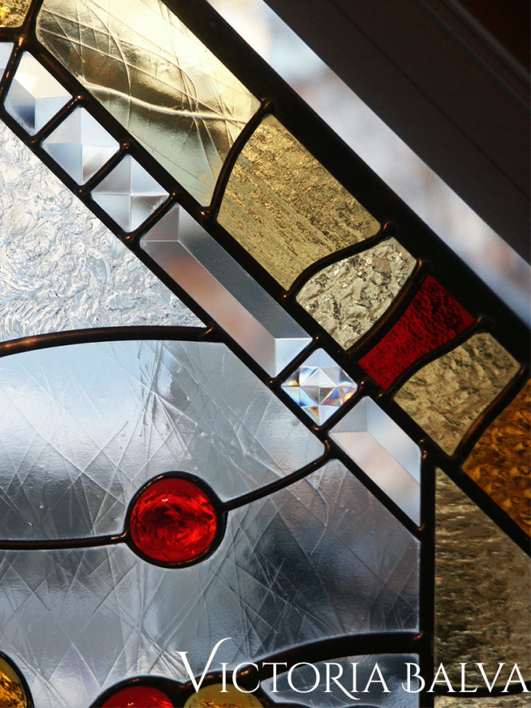 Contemporary modern stained and leaded glass panel with clear bevelled glass, textured glass and glass nuggets