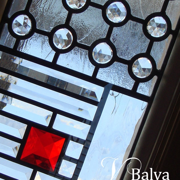 Stained and leaded glass door sidelight inserts