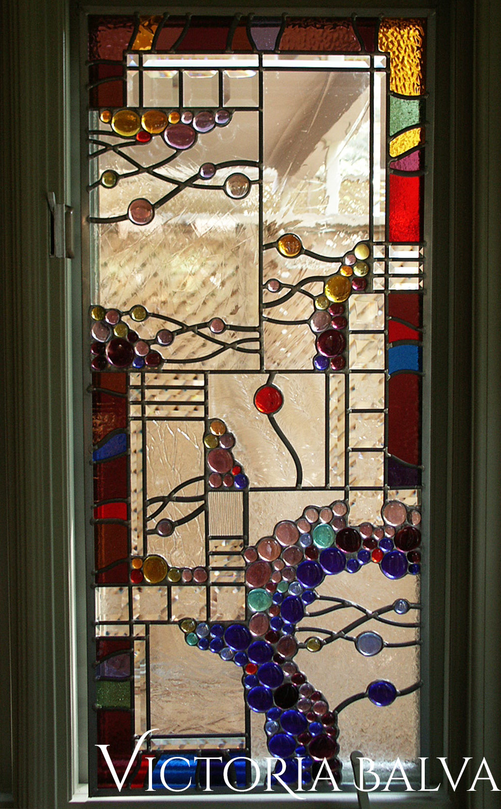 Stained leaded glass suspended panels with nuggets and beveled glass in abstract style